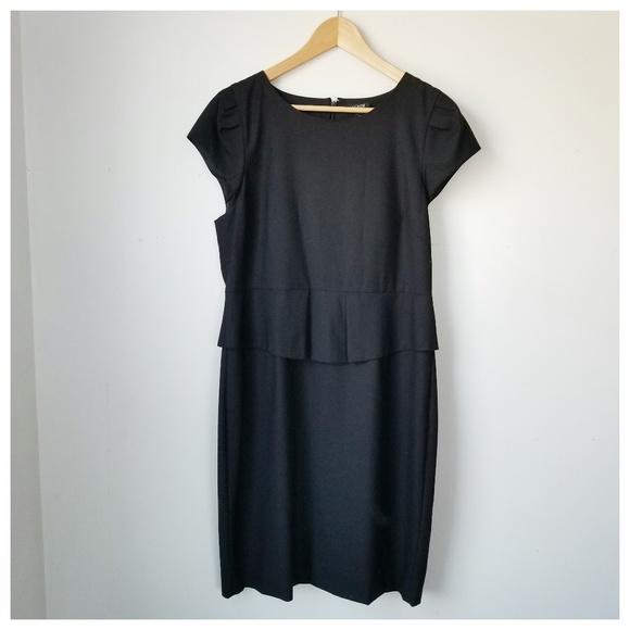 Jcrew Black Cap Sleeve Peplum Dress Plus Size 14 Poshmark